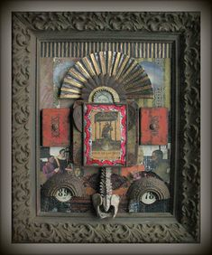 Original Dia de Los Muertos Themed Assemblage Framed With Antique Retablo Box Art, Art Boxes, Altered Art, Altered Books, Found Object Art, Steampunk Design, Assemblage Art, Recycled Art, Clay Art