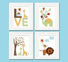 Safari animals Nursery Art Print Set 5x7 Kids Room by SugarInspire