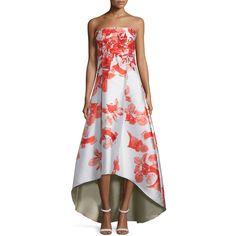 Sachin & Babi Noir Floral-Print Sleeveless Midi Dress W/ High-Low Hem ($1,295) ❤ liked on Polyvore featuring dresses, trppnk, full skirt, floral print midi dress, mullet dress, full midi skirt and floral dress