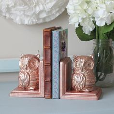 Owl Rose Gold Bookends -- Create chic bookends for a shelf.  #decoartprojects