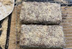 LAMINGTON CAKE Lamington Cake Recipe, Coconut Icing, Full Fat Milk, Cooking Measurements, Chocolate Icing, Strawberry Jam, Aussies, Unsweetened Cocoa