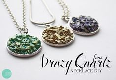 Druze charm necklaces DIY faux Druzy from glass and nail polishes -- make matching post earrings.