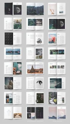 editorial layout LUMINA Magazine Template from Collective - Booklet Layout, Brochure Layout, Layout Template, Brochure Template, Book Design Templates, Design Brochure, Magazine Layout Design, Book Design Layout, Graphic Design Layouts