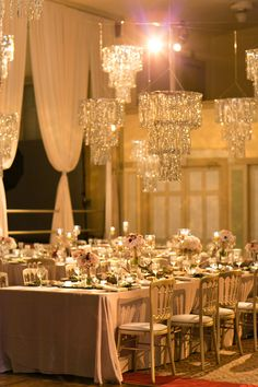 Tinsel Chandeliers- I love the extra shiny.  Would be fab in the tent!  AND cheap too... Glamorous Rose Gold Wedding | photography by http://emiliajanephotography.com/