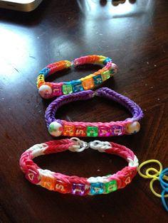 Rainbow loom name and bead bracelet