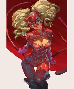 Clean up for boobs and the background kicked my butt so hard TT_TT St. Ann Takamaki By JettyJet Female Character Design, Game Character, Character Concept, Persona 5 Ann, Persona 5 Joker, Fantasy Characters, Female Characters, Shin Megami Tensei Persona, Pokemon