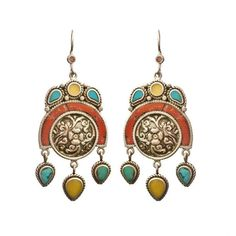 Dangling Turquoise Earrings from Nepal