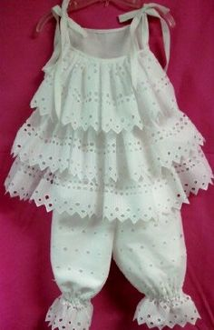 Girls White Eyelet Ruffled capri set by UniqueDesignsbyGigi, $35.00