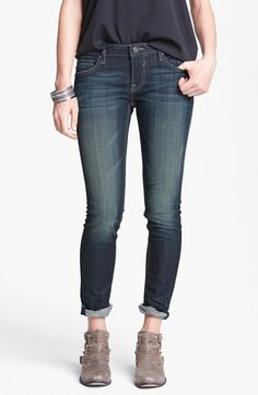 BEST. JEANS. EVER.  Seriously.  BEST JEANS EVER!  And under $50 at Nordstrom!  You can wear them rolled in a cute cuff or you can unroll them.  Great color and perfect amount of stretch!