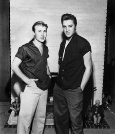 Nick Adams and Elvis in the living room of Elvis' 1034 Audubon Drive home in Memphis, TN, October 24, 1956