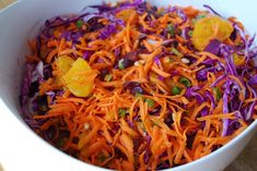 A delicious recipe for fresh purple cabbage salad made with fresh carrots, cabbage and scallions adapted from the Passover by Design cookbook. Purple Cabbage Salad Recipe, Purple Cabbage Slaw, Cabbage Salad Recipes, Side Recipes, Greek Recipes, Real Food Recipes, Healthy Recipes, Healthy Foods, Sos Food