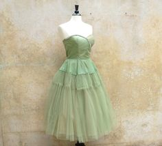 Celery Green Metallic | Celery green 50s cocktail prom wedding party dress - tulle organza and ... *** ENERGY