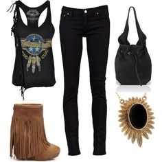 Rocker chic with fringe Rock Chic, Boho Rock, Grunge, Indie, Summer Outfits, Cute Outfits, Hipster, Kawaii, Classy And Fabulous