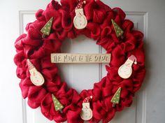 Christmas Red Burlap Door wreath with Fun by ChloesCraftCloset, $45.00