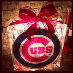 Chicago Cubs -- Glass Block -- Unique Gift -- By the Bar -- SALE on Etsy, $25.00