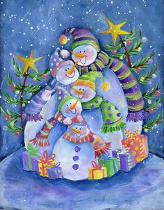 paintings of snowmen images | Snowman Family Painting by Pat Olson - Happy Snowman Family Fine Art ...