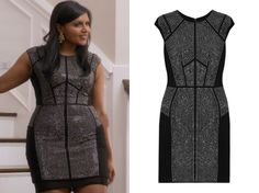 """dc0e1bd477 Mindy's black studded bodycon dress from season 1 episode of The Mindy  Project """"Thanksgiving"""""""