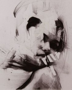 Artist: Ian Francis {contemporary #expressionist female head woman face portrait b+w grunge drawing}