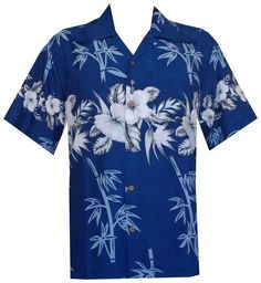 Hawaiian Shirts Mens Bamboo Tree Printed Beach Aloha Party Blue M