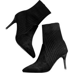 Black 39/7.5 Pointed Toe Stiletto Heel Slip On Boots (296.355 IDR) ❤ liked on Polyvore featuring shoes, boots, slip on shoes, high heel stilettos, black stilettos, pointed toe stilettos and stiletto heel boots