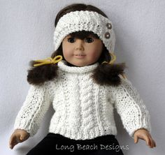 Knitting PATTERN Doll Aran Sweater and Warmer Set for