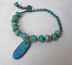 blue all over Bracelet - w/ painted pebble – Plymouth Rocks, patina chain – Something to do Beads Something to do with your hands