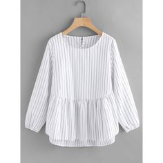 SheIn(sheinside) Frill Hem High Low Pinstriped Blouse ($15) ❤ liked on Polyvore featuring tops, blouses, white, stripe top, white collared blouse, striped long sleeve top, button blouse and striped top