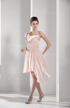 Light Pink Cute Asymmetric Neckline Zipper Chiffon Knee Length Bridesmaid Dresses - iFitDress.com