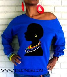 "Image of THE ""TRIBAL"" OFF THE SHOULDER SWEATSHIRT IN ROYAL BLUE $29.99"