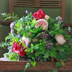 The Real Flower Company Hand Tied Bouquet Course. I especially love the herbs and scented leaves in this summery bouquet...