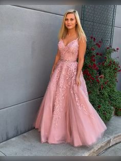 A Line V Neck Two Pieces Lace Appliques Pink Prom Dresses with Belt, 2 Pieces Pink Lace Formal Dresses, Lace Pink Evening Dresses Prom Dresses Two Piece, Pink Prom Dresses, A Line Prom Dresses, Beautiful Prom Dresses, Event Dresses, Wedding Party Dresses, Prom Gowns, Senior Prom Dresses, Graduation Dresses