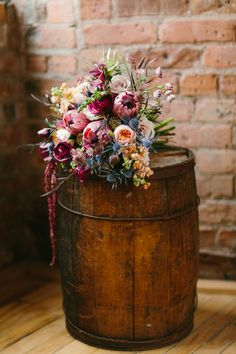 Lush Wedding Bouquet in deep tones of burgundy with accents of pink, peach, champagne, blue + lavender / from Wallflower Designs / photo by Maggie Fortson Photography themes champagne A Stunning Styled Bridal Session in Marsala {Pantone Color of the Year} Blush Fall Wedding, Tulip Wedding, Burgundy Wedding, Autumn Wedding, Wedding Peach, Burgundy Bouquet, Fall Bouquets, Fall Wedding Bouquets, Fall Wedding Flowers