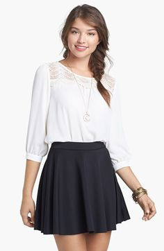 Frenchi® Skater Skirt (Juniors) available at #Nordstrom   This is a super easy look to wear and to buy!  She can put on whatever jacket & cool accessories to personalize it.  And black & white is hot this year!