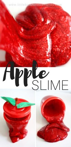 Make homemade apple slime recipe with our DIY homemade slime with 3 ingredients. Of course you add the color and glitter! Make slime for kids with clear glue and give it a fun theme like our apple red slime! (Ingredients For Slime Kids Crafts) Preschool Apple Theme, Apple Activities, Fall Preschool, Autumn Activities, Sensory Activities, Color Activities, Preschool Apples, Preschool Education, Preschool Science