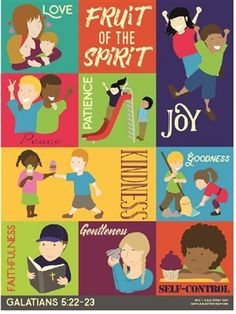 Fruit of the Spirit classroom poster for early learners. Sunday School Lessons, Lessons For Kids, Bible Lessons, Bible Stories For Kids, Bible Study For Kids, Kids Bible, Preschool Bible, Charts For Kids, Fruit Of The Spirit