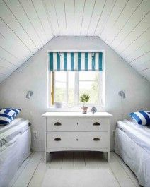 two single beds, attic, comfy, like the blue/white fabric