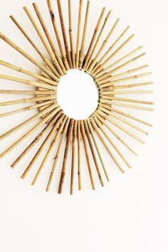 bamboo flooring DIY Bamboo Mirror Frame at Design*Sponge Diy Bamboo, Bamboo Art, Bamboo Crafts, Bamboo Ideas, Bamboo Garden, Bamboo Mirror, Diy Mirror, Wall Mirrors, Mirror Ideas