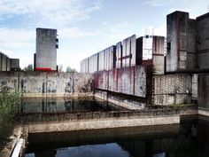 #red #rectangle #accent #abandoned #unfinished #nuclear #plant #atom #streetart #concrete #water #autone
