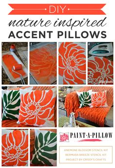 Paint-A-Pillow shares DIY stenciled accent pillows using nature inspired stencil designs. http://paintapillow.com/index.php/paint-a-pillow-kits/nature-inspired-diy-accent-pillows.html #custom #pillow #stenciling