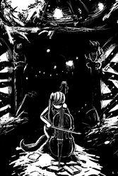 Size: 2000x3000 | Tagged: artist:gordonfreeguy, black and white, bow (instrument), cello, cello bow, grayscale, hair over eyes, monochrome, octavia melody, ruins, safe, solo