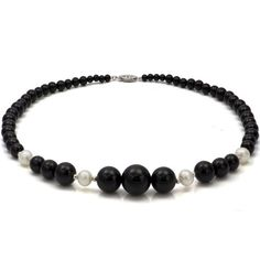 """4-16mm Graduated Black Onyx and 8-9mm White Cultured Freshwater Pearl Necklace 18"""" Length with 3mm Sterling Silver Beads a... by necklaceme"""