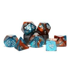 Copper Teal with Silver Gemini Dice 7 Dice Set