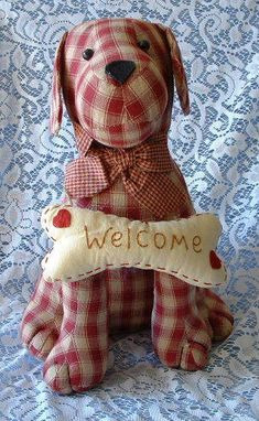 gingham dog doorstop found on ebay