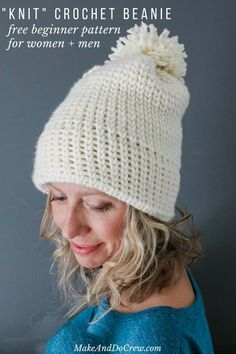 Crochet Gift Idea This double-brimmed crochet beanie looks knit, but it's not! This free crochet hat pattern for beginners uses only single crochet stitches to create a modern hat that's a perfect crochet gift idea for men or women. Free pattern by Make Chunky Crochet, Free Crochet, Free Knitting, Crochet Beanie Pattern, Crochet Patterns, Hat Patterns, Crochet Hat For Beginners, Beginner Crochet, Make Do