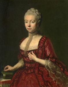 Portrait de la baronne Sophia Katharina von Brukenthal, épouse du baron Samuel von Brukenthal, avec des aiguilles, vers 1765 artiste autrichien inconnu