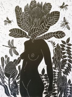 """""""Penny Protea lino print"""" by Marinka Parnham. Paintings for Sale. Bluethumb - Online Art Gallery"""