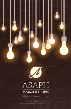Asaph Ministry Poster | Vintage hipster light bulb poster #church #worship #poster
