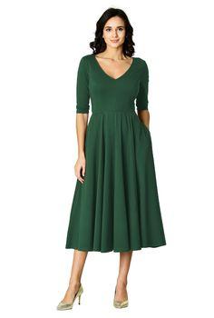 Shop Cotton knit fit and flare dress | eShakti