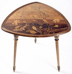 """Émile Gallé (1846-1904) - Three-Leg Table. Carved & Turned Mahogany and Fruit Wood Marquetry Inlays. Nancy, France. Circa 1900. 28"""" x 21""""."""