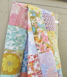nice vintage sheet quilt...  love the feminine colors.